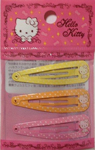 Hello Kitty Hair Pin (Sanrio Hello Kitty Hair 3-pin Accessories Barrette Yellow Orange Pink 3pcs Set)