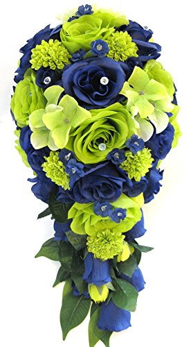 Amazon Com Wedding Bouquet Flowers Bridal Silk 17 Piece Package