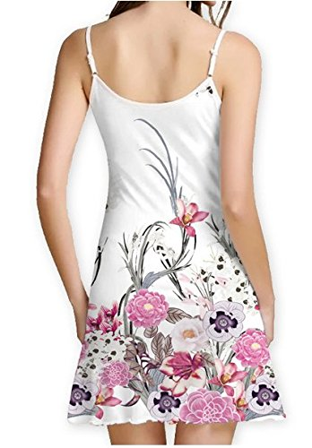 SRYSHKR 2018 Womens Summer Sleeveless Damask Floral Print Casual Loose T-Shirt Midi Long Sling Dress (XXL, White): Amazon.co.uk: Clothing
