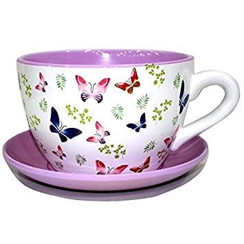Decorative Novelty Terracotta Tea Cup And Saucer Shaped Garden Patio