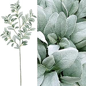 "Supla 45"" Tall Artificial Silk Lambs Ear Leaf Spray in Silver Green 102 Pcs Leaves Artificial Greenery Holiday Greens Christmas Greenery Artificial Plants Wedding Bouquet Green Leaf Floral Arrangement 26"