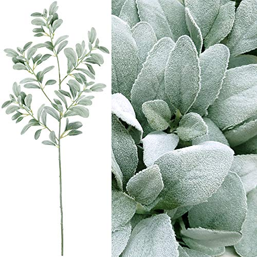 Supla 45 Tall Artificial Silk Lambs Ear Leaf Spray in Silver Green 102 Pcs Leaves Artificial Greenery Holiday Greens Christmas Greenery Artificial Plants Wedding Bouquet Green Leaf Floral Arrangement