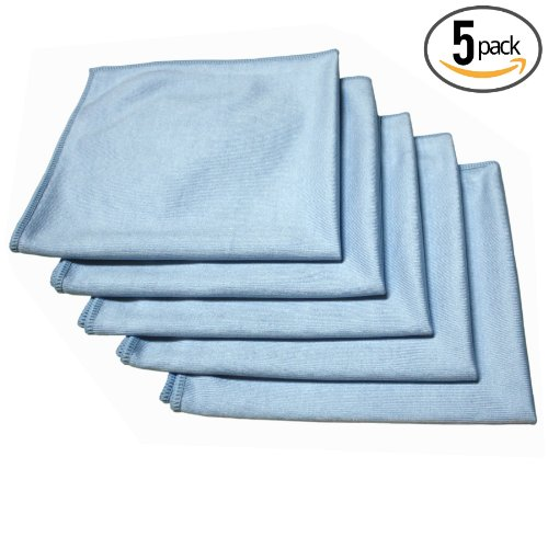 (5-Pack) THE RAG COMPANY 16 in. x 16 in. Premium Window, Glass, Mirror & Chrome Professional Korean 70/30 Microfiber LINT-FREE, STREAK-FREE Detailing Towels