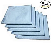 (5-Pack) THE RAG COMPANY 16 in. x 16 in. Premium Window, Glass, Mirror & Chrome Professional Korean 70/30 Microfiber LINT-FREE, STREAK-FREE Detailing Towels