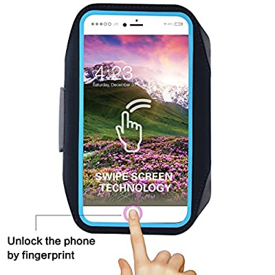 Sports Armband for iPhone X/8/7/6S/6 Plus, Fingerprint Touch,Sweatproof and Earphone Lock Arm Band for Men and Woman Running Hiking Biking Walking Exercise