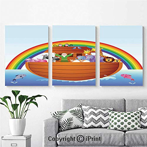 Canvas Prints Modern Art Framed Wall Mural Noah Ark and Colorful Sky Every Kind of Creature Sailing Artful Design Print for Home Decor 3 Panels,Wall Decorations for Living Room Bedroom Dining Room B ()