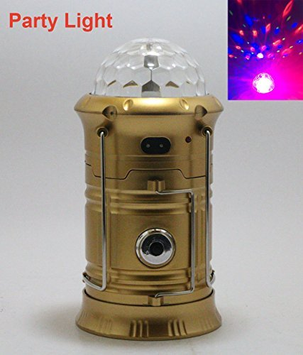 Party Light,Camping Lantern, Rechargeable LED Camp Light & Handheld Flashlight in the Bottom for Hiking, Camping, Fishing, Hurricanes, Outages, Emergency Charging for Mobilephone (Gold)