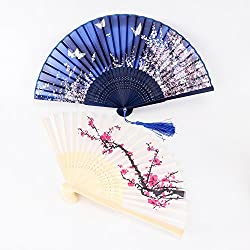 DmsBanga 2 Pcs Hand Held Craft Chinese Japanese Handmade Bamboo Design Silk Folding Plum Cherry Blossom Butterfly Fan Favors 8.27 inches