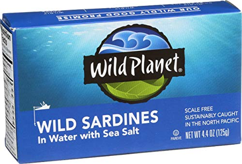 - Wild Planet Wild Sardines in Water with Sea Salt, Keto and Paleo, 4.4 Ounce (Pack of 12)