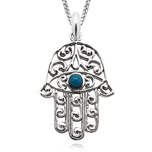 925 Sterling Silver Blue Enamel Filigree Evil Eye Hamsa Hand - Hand of God Pendant Necklace, 18