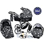 ALLIVIO - Landau pour bébé + Siège Auto - Poussette - Système 3en1, incluant sac à langer et protection pluie et moustique (Système 3en1, fleurs)