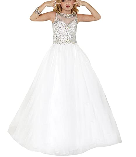 2d8980ac16c MSJME Big Girls  Crystal Top First Holy Communion Dress Pageant Dresses 2  US White