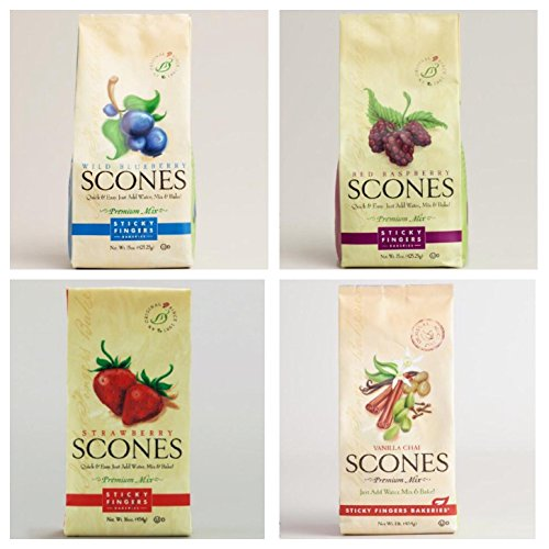 Sticky Fingers Scone Mix Variety Pack of 4 (Wild Blueberry, Raspberry, Strawberry, and Vanilla Chai) 15 Oz. - Scone Mix Raspberry
