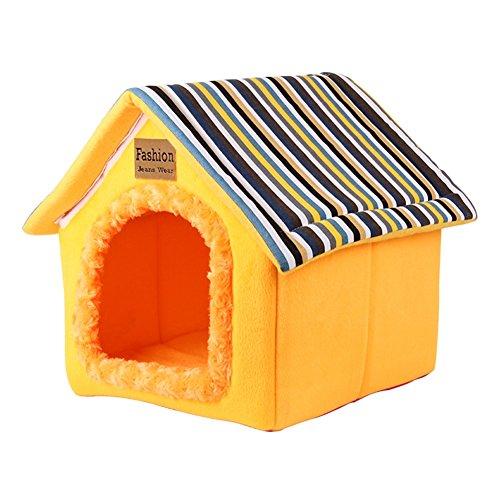 YIXIN Chats et chiens Maison pour animaux de compagnie Jaune Forme de logement XS / S / M / L / XL ( taille : XL-50*55*38*58cm )