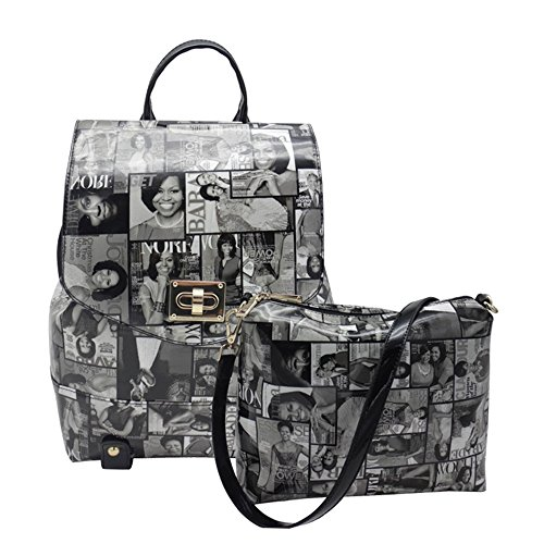 Michelle Obama Magazine Style Trendy Backpack (Black) ()