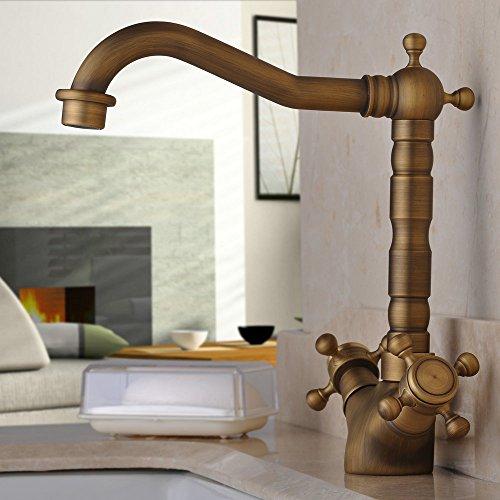 Hiendure 180 Degree Swivel Antique Inspired Brass Kitchen
