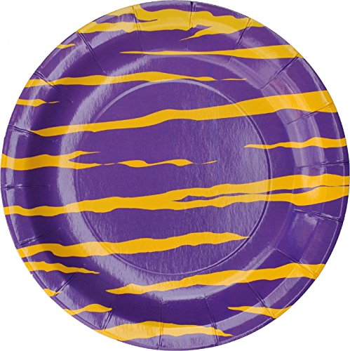 (Stripe Party Dinner Plates (Yellow and Purple Tiger Stripe, 9 inch, Round, 8 pack) Tiger Stripe Party Collection By Havercamp)