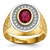 ICE CARATS 14k Yellow Gold Cubic Zirconia Cz Oval Red Mens Band Ring Size 10.00 Signet Fine Jewelry Dad Mens Gift Set