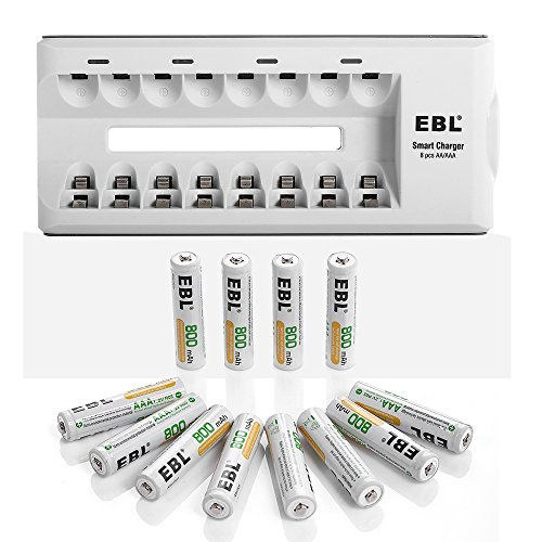 EBL 12 Pack 800mAh AAA Ni-MH Rechargeable Batteries with 8 Slot AA/AAA Battery Charger [Home Basic Series]