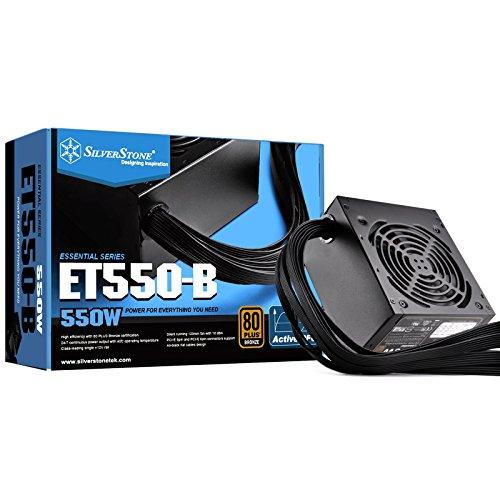 (SilverStone Technology 550 Watt 80 Plus Bronze ATX PSU with Flat Black Cables ET550-B Power Supply ET550-B)