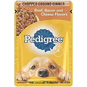 PEDIGREE Chopped Ground Dinner Beef, Bacon and Cheese Flavors Wet Dog Food 3.5 Ounces (Pack of 16)
