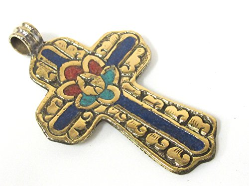 - 1 Pendant - Large Tibetan solid Brass cross pendant with lotus floral carving turquoise coral lapis inlay - PM565C Copyright Nepalbeadshop