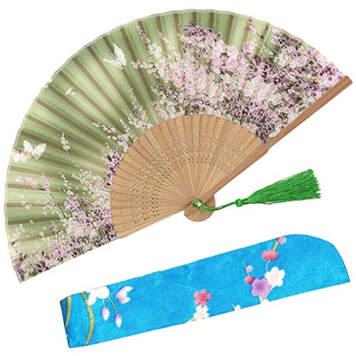 OMyTea Women Hand Held Silk Folding Fans with Bamboo Frame - with a Fabric Sleeve for Protection for Gifts - Sakura Cherry Blossom Pattern (WZS-6)