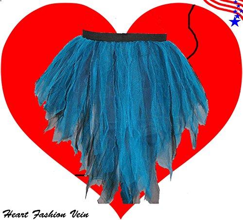 Barbie Fancy Dress Costumes For Adults (Blue Black Bustle Peacock Seven Layer Trashy Tutu Skirt Fairy Halloween)