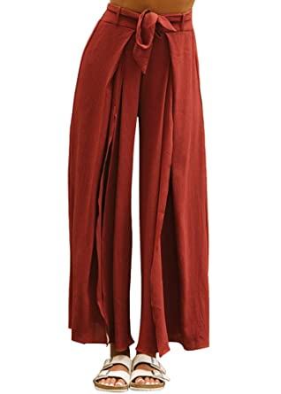 29dd87da80 Smibra Womens Linen Casual Elastic Waist Wide Leg Side Slit Solid Long  Palazzo Pants at Amazon Women's Clothing store: