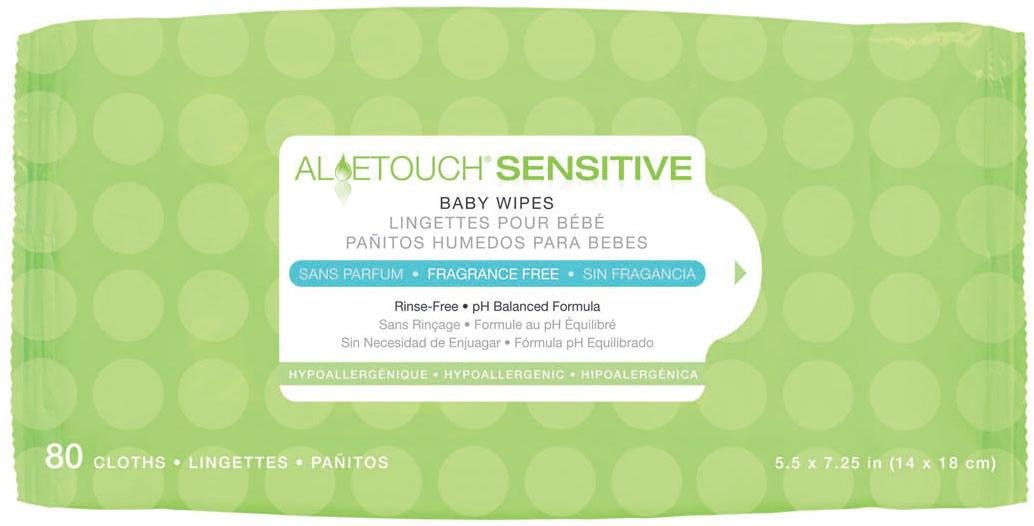 MEDLINE MSC263153 MSC263153H Aloetouch Sensitive Personal Cleansing Baby Wipes (Pack of 80)