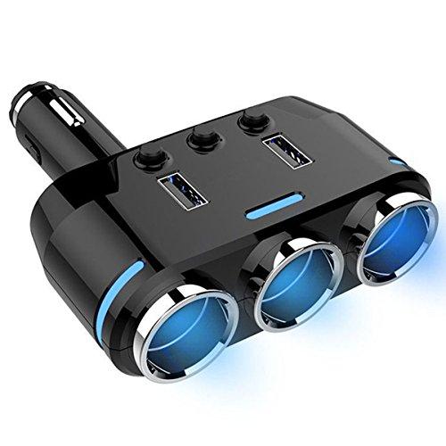Cigarette Lighter Adapter,3-Socket 100W 12V DC Car Cigarette Lighter Socket Splitter Power Adapter With LED Voltage Display and Dual USB Car Charger 3.1A Dual USB Car - Super Cigarette