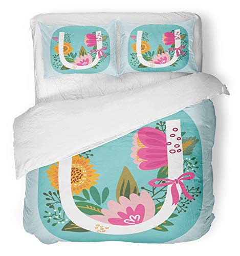 - Emvency 3 Piece Duvet Cover Set Breathable Brushed Microfiber Fabric Floral Monogram with Vintage Amazing Flowers Letters U Perfect for of Flyers Webs Bedding with 2 Pillow Covers Full/Queen Size