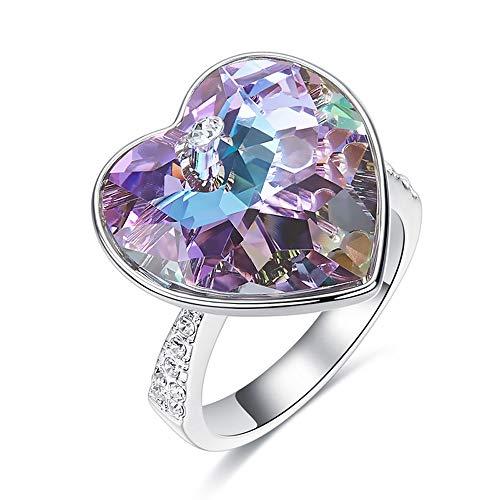 EleShow Love Heart Ring for Women for Girls Crystals from Swarovski (7)