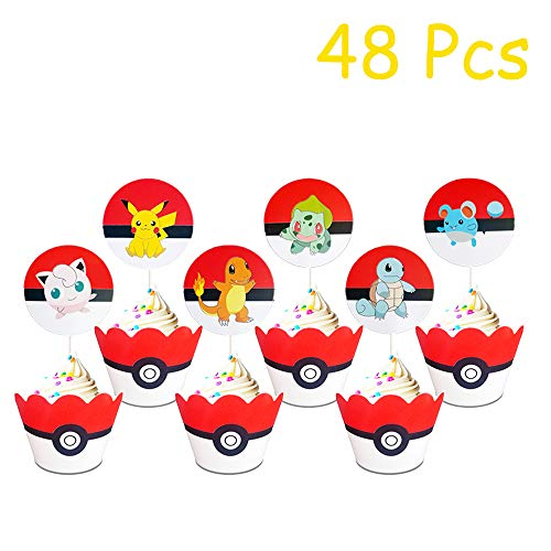 24 Pikachu Pokemon Cupcake Toppers and Cupcake Wrappers for Kids Birthday Party Cake Decorations -