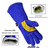 KIM YUAN Leather Welding Gloves - Heat/Fire Resistant, Perfect for Gardening/Oven/Grill/Mig/Fireplace/Stove/Pot Holder/ Tig Welder/Animal Handling/BBQ - 16inches