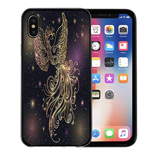 Emvency Phone Case for Apple iPhone Xs Case/iPhone X Case,Magic Space Firebird Stars Clipart Gold Glow and Ornate Soft Rubber Border Decorative, Black ()