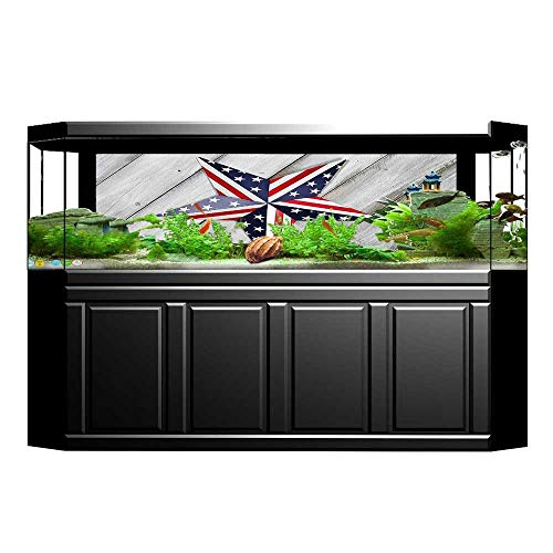 UHOO2018 Fish Tank Background July Decor Independence Day Banner with Balloons National Parade Country Image Blue Scarle PVC Adhesive Decor Paper Sticker 35.4