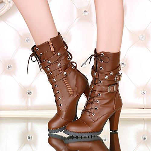 UH Femmes Chaussures avec Boucles avec Rivets et Lacets Bottes à Cuissarde de Fermeture Eclair Talons Moyenne Bloc Confortables avec Fourrure Chaud pour l'hiver Marron IIBMN