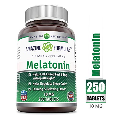 Amazing Formulas Melatonin for Relaxation and Sleep, 10 Mg, 250 Tablets - Natural Sleep Aid Supplement - Promotes Calming and Relaxing Effect Suitable for Vegetarian