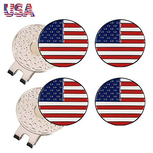 Amy Sport Golf Ball Marker Value 4 Pack with 2 Pcs Silver Magnetic Hat Clip, Durable Removable Attaches Easily to Cap Premium Gifts (2 Hat Clip&4 USA Flag)