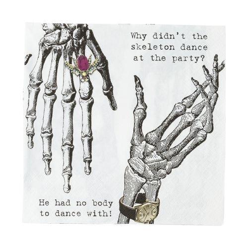 Talking Tables Skeleton Crew Skeleton Design Paper Napkins (33cm)  for a Halloween party, Multicolor (20 (Halloween Party Designs)