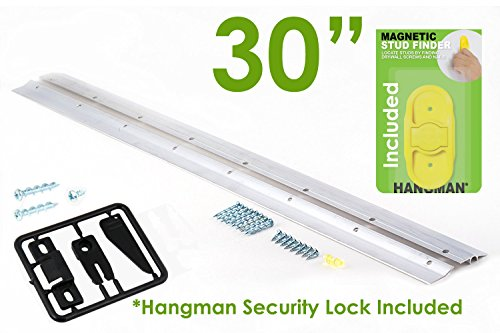 """Hangman 30"""" Heavy Duty Mirror and Picture Hanger with Security Lock and Stud Finder Includes Walldog Anchorless Screws - Aluminum (HM-30DS-SL)"""