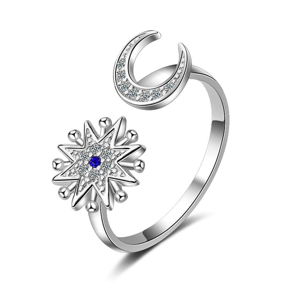 Daeou Open Ring Lady Ring Star Moon Micro-Inlaid Open Ring