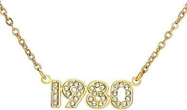 RINHOO Birth Year Number Pendant Necklace Stainless Steel Gold Number Birthday Necklace Chain Jewelry for Women Girl