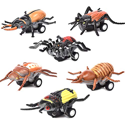 LtrottedJ 6PCS Simulated Insect Model Animals Cars Pull Back Car Kids Fun Toys Boys Gifts -