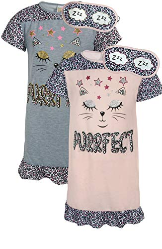 Sweet & Sassy Girls Short Sleeve Nightgown Pajama with Eye Mask (2 Pack) (Purrfect, 4)'