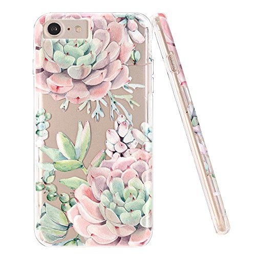 iPhone 7 Case,iPhone 8 Case,DOUJIAZ Flower Gradient Pattern Hybrid Hard Back Soft TPU Raised Edge Shock Absorption Protective Case for iPhone 7/8 -Green Succulents