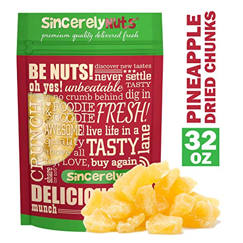 (Sincerely Nuts - Dried Pineapple Chunks | Two Lb. Bag | Dehydrated Fruit Snack | Kosher, Vegan, Gluten Free)