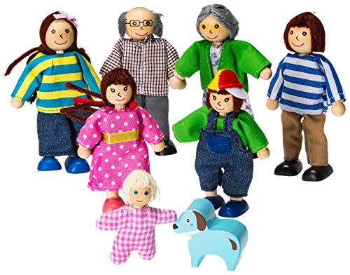 Pretend Wooden Family Play Dolls With Dog By Dragon Drew (8 Figure Set)
