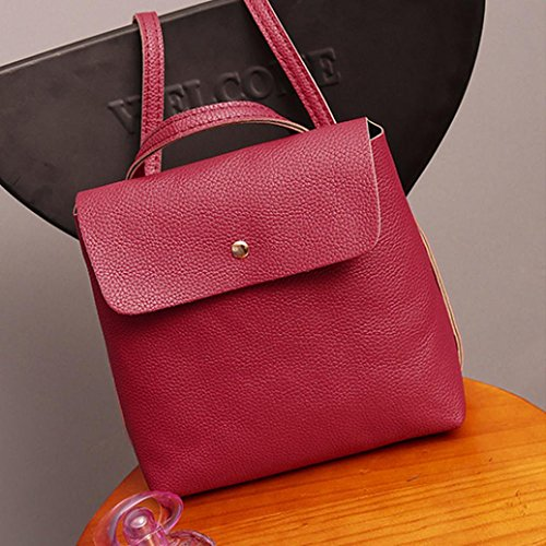 Leather Travel Rucksack Watermelon School Bags Purse Satchel Bag Fashion Red Womens Backpack Inkach IwSxqa6Aa